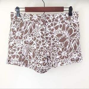 NY&Co Linen Blend Brown Floral Shorts, Size 4